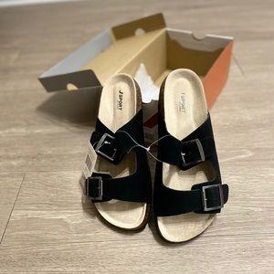 JSport by Jambu Black Libra Suede Sandals Sz 10